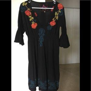 Johnny Was JWLA embroidered floral black dress